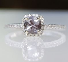 1ct Ocean gray blue color change cushion sapphire diamond ring 14k white gold ring - my future ring!!