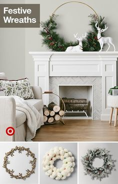 Find modern or traditional Christmas wreaths to festively adorn your front door … - Kamin Idee Farmhouse Christmas Decor, Country Christmas, All Things Christmas, Christmas Home, Christmas Holidays, Victorian Christmas, Pink Christmas, Vintage Christmas, Modern Christmas