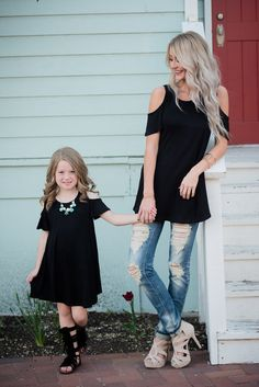 Mommy and Me Open Shoulder Butterfly Sleeve Tunic Dress Black - Ryleigh Rue Clothing by Modern Vintage Boutique
