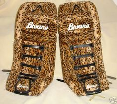Brian's leopard skin goalie pads ... no comment :)
