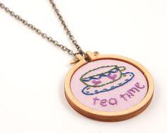 Tea time embroidered necklace  lavender lilac olive by dandelyne, $40.00