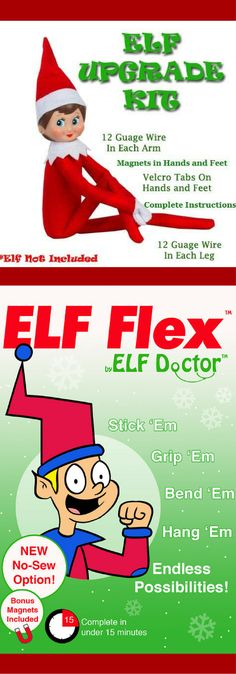 Suffering from Limp Elf Syndrome? Elf Doctor can help! ELF FLEX Elf on the Shelf Upgrade Accessories Kit, Make Your Elf Flexible and Bendable. Elf on the Shelf Accessories, Elf on the Shelf Upgrade, Elf on the Shelf Ideas, Elf on the Shelf Poses, Posing Kit, Christmas Decorations #ad