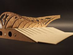 Model exhibiting doubly curved roof generated for a boat shed design