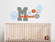 Baby Bots Robots Gears Initial Personalized by ToodlesDecalStudio, $44.50