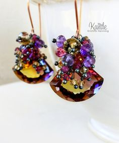 Ametrine Drop Earrings Rose Gold Amethyst Purple Yellow by Kande, $190.00