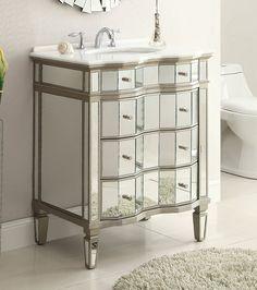 Adelina 30 Inch Mirrored Bath Vanity Mirror