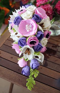 Felt wedding bouquet http://www.flickr.com/photos/yewashop/