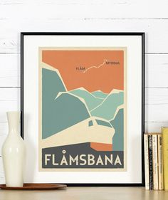 Retro travel poster, Norway, Flamsbana, Flam line, Myrdal, train, railroad, Scandinavia, Scandinavian landscape, Nordic mountains, art print  ------  This picture is a high-quality print made on 200g/m2 matte paper with a large-format professional Epson printer using only original inks for long-lasting, vivid colors.  The listing is for the print only. No framing or matting is included. Watermark will not appear in your print. Actual colors may differ slightly from what you see on the…