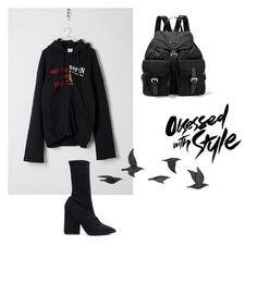 """Look1"" by shishakova on Polyvore featuring Vetements, Yeezy by Kanye West, Prada, Tempaper and Jayson Home"