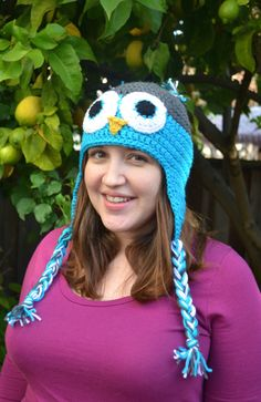 Items similar to Owl Unisex Beanie with Earflaps - Cuddly Crochet Adult / Teen Animal Hat on Etsy