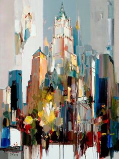 """Josef Kote - """"Light, both in life and in art, has been an intriguing concept for me. I pour myself onto each painting I create and every time the motivation is finding the light. Cityscape Art, City Painting, City Art, Painting Inspiration, New Art, Street Art, Abstract Art, Artwork, Cityscapes"""