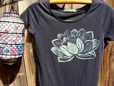 Indian Lotus Organic Cotton Tee  Charcoal by PutuPrincessEscapes, $32.00