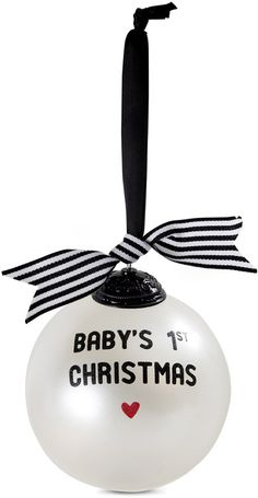Baby's First Christmas Black and White Glass Bulb Ornament