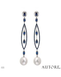 AUTORE Made in Italy Earrings Designed in 18K Two Tone Gold  Diamond #SapphireJewelry