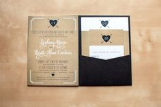 Custom Wedding Invitation Suite: Kraft brown, white, and black, in pocket folder, with reply card. www.artbyellie.com