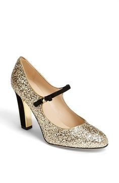 kate spade new york // Gold Glitter pump