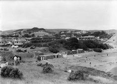 Titahi Bay, alongside the beach, photographed in 1934 by Sydney Charles Smith. Quantity: 1 b&w original negative. Auckland, New Zealand, Paris Skyline, Dolores Park, Surfing, Coast, Around The Worlds, Landscape, Kiwi