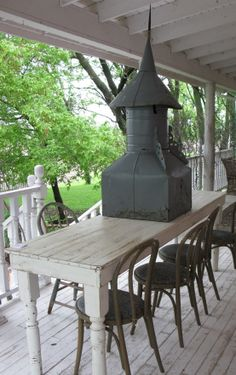 Exceptional Narrow White Harvest Table On The Back Porch Of Bloom!