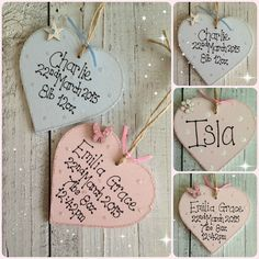 PERSONALISED HEART HANDMADE NEW BABY GIRL BOY CHRISTENING GIFT PLAQUE in Home, Furniture & DIY, Home Decor, Plaques & Signs   eBay