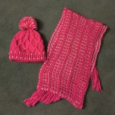 Pink Wool Hat and Scarf Fleece lined wool hat with matching fringe scarf. Really warm and cozy but never worn (I don't love pink.) price is negotiable! Moon Collection Accessories Scarves & Wraps