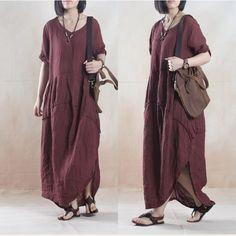 Women linen loose fitting short sleeve summer dress - Tkdress  - 1