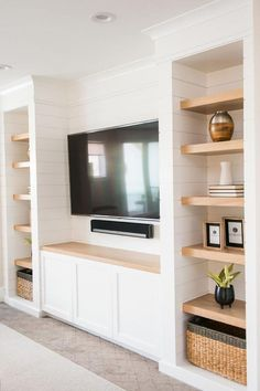 Use these gorgeous modern living room ideas, even if you have a small living room, as a starting point for your next decorating project. tv wall built ins 50 inspiring living room ideas Family Room Design, Room Remodeling, Trendy Living Rooms, Living Room Built Ins, Interior, White Shiplap Wall, Living Room Tv Wall, Room Design, Living Room Modern