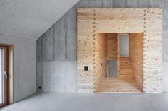 Schneller Caminada Architekten - Family house, Trin Mulin 2016. Via, photos © Gaudenz Danuser. #concrete #wood #singlefamilyhome