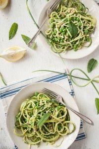 Garlic Scape Pesto & Zucchini Noodles with Peas & Mint Recipe