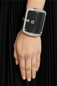 Black leather cuff bracelet. Givenchy