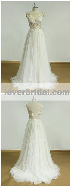Sexy Backless See Through Cap Sleeve Cheap Wedding Dresses Online, WD345