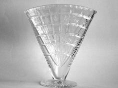 Flowers Fandango ! Bohemia Crystal Fan Vase Czech Art Deco cut lead by Quirkytiques, £55.00