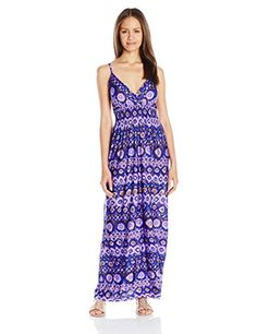 Shes Cool Womens Printed Ity Maxi Dress Royal Blue Small -- Click image for more details.