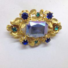 Vintage Made AUSTRIA Crystal FLOWER BROOCH PIN Blue Green Emerald Cut Gold Tone #MadeinAustria