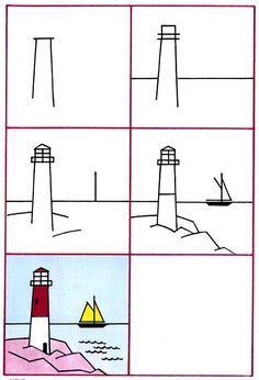 How to Draw a Lighthouse | Purple Kitty
