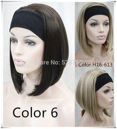 반 가발 3/4 가발 합성 머리 가발 황금 머리띠 가발 중간 길이 무료 배송