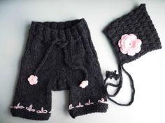 Hand knitted bonnet and pant set for Newborn by HandmadebyPrisca, £15.00