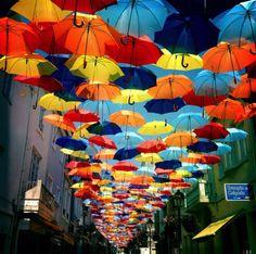 Floating Umbrella Installation in the Streets of Agueda, Portugal - Amazing Street Art Umbrella Street, Umbrella Art, Instalation Art, Colorful Umbrellas, Colourful Art, Land Art, Art Festival, Public Art, Urban Art