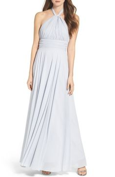 Main Image - Lulus Chiffon Halter Gown Nordstrom $117 comes in this blue, lilac, cream and pale pink