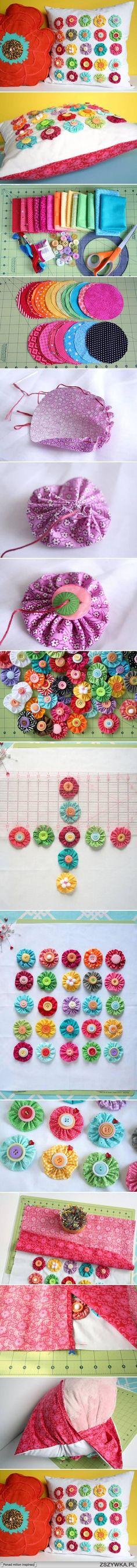 diy, fabric, flower, pillow, tutorial