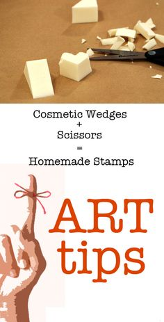 Tips: Low-cost Stamps made from Cosmetic Wedges Art tip: Upcycle cosmetic wedges as inexpensive stamps. More art tips and ideas on Tinkerlab.Art tip: Upcycle cosmetic wedges as inexpensive stamps. More art tips and ideas on Tinkerlab. Art For Kids, Crafts For Kids, Homemade Stamps, Paper Crafts, Diy Crafts, Stencils, Stamp Making, Card Making, Einstein