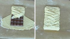 4. Vik översta kanten över chokladkakan. Fläta ihop flikarna ovanpå chokaldkakan och vik upp den undre kanten. Fika, Something Sweet, Cheesecake, Delicate, Chocolate, Eat, Recipes, Anton, Frases