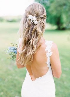 Bridal Half Up Wedding Hairstyles, half up half down hairstyles #halfuphalfdown #weddinghairstyles #bridehair