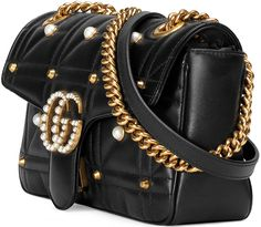 After the Gucci Pearl Studded Padlock Bag and the Gucci Bow & Pearl Bag, the fashion Gucci Shoulder Bag, Chain Shoulder Bag, Shoulder Handbags, Leather Shoulder Bag, Shoulder Bags, Studded Purse, Studded Leather, Leather Purses, Leather Handbags