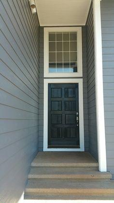 Behr Paint Iron Mountain Grey Ultra Pure White Carbon Black Garage House Exterior Shutters Door