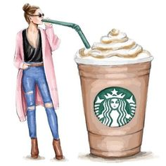 Coffee Lover - Starbucks Coffee - Fashion Illustration - D - Coffee Love, Coffee Art, Coffee Barista, Coffee Drawing, Coffee Menu, Coffee Painting, Coffee Creamer, Black Coffee, Hot Coffee