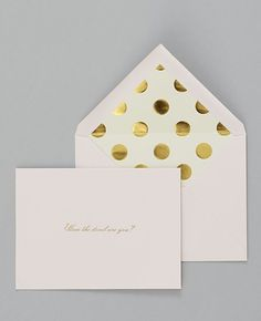 """""""How the devil are you?"""" Note Card Set. Love the gold polka dot lined envelope."""