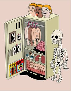 Getting ready for the day, skeleton style.