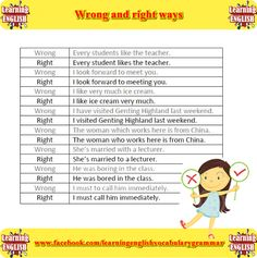 right and wrong sentences - learning basic English