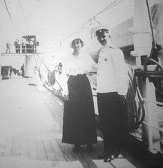 "Grand Duchess Olga Nikolaevna Romanova of Russia with an officers on board the Imperial Royal yacht,the Polar Star in 1914. ""AL"""