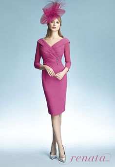 A stunning mother of the bride, wedding guest, or mother of the groom outfit by Renata. This perfectly pink dress is perfect for a fashion forward Mum! Frox of Falkirk fashion.